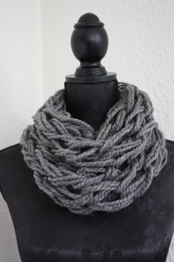 Homemade Armknitted Scarf   Charcoal Gray Whool