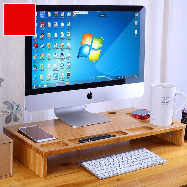 Bamboo Monitor Stand Riser with Storage Organizer, Laptop Cellphone TV Printer Stand Desktop Container