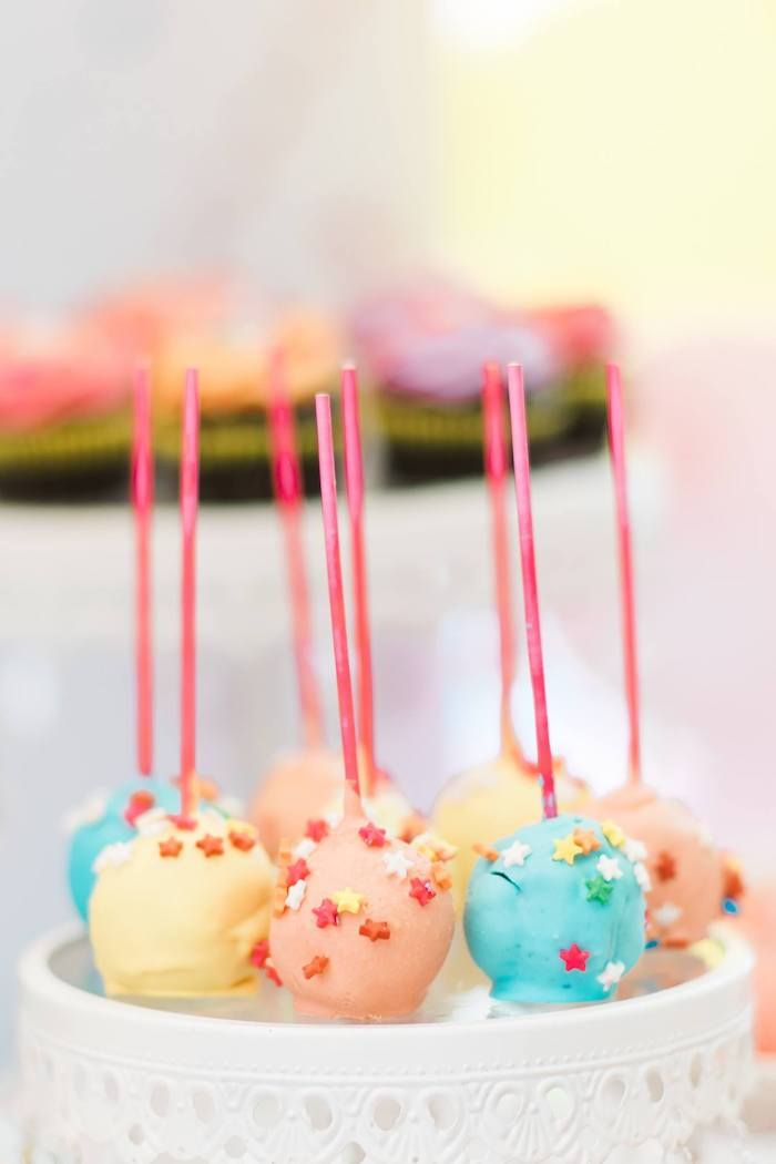 Star Sprinkled Rainbow Cake Pops From A Rainbows And Rockets Birthday Party On Karas