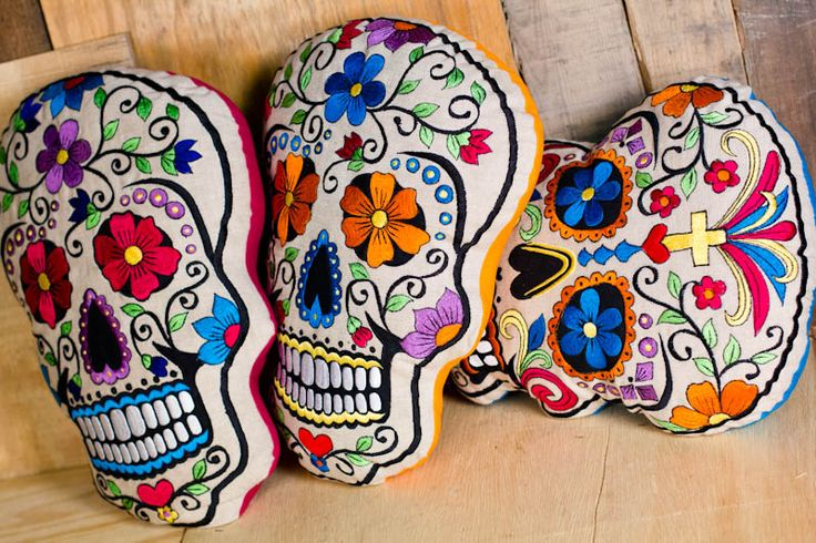 Día de los Muertos Embroidered Sugar Skull Pillows - $24.95 each @ Earthbound Trading Company. part of spencer's christmas?