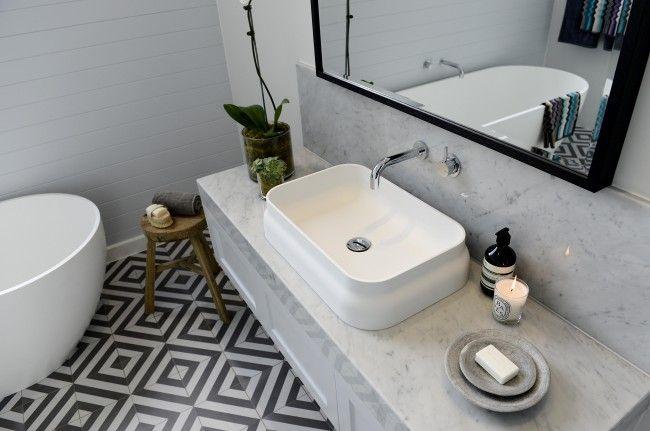 Black & white cement tile, floating vanity, marble, modern hardware, subway tile, black framed mirror SINK. The Block Glasshouse 2014 – Bathroom reveal
