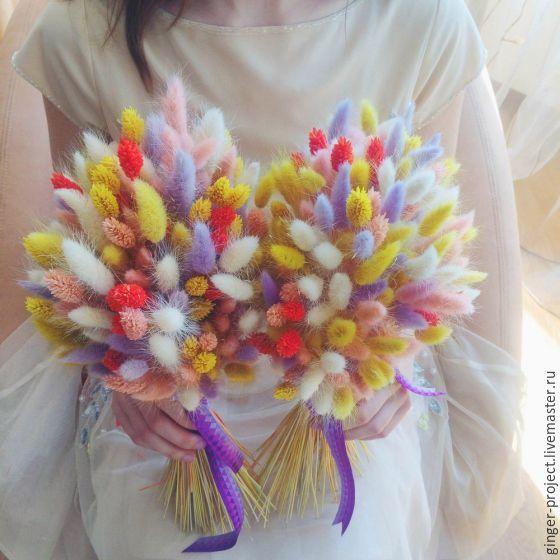 Купить Яркий букет из сухоцветов в подарок девушке на день рождения - подарок на любой случай