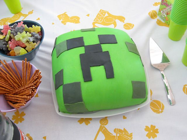 Minecraft cake, creeper, 7th birthday cake