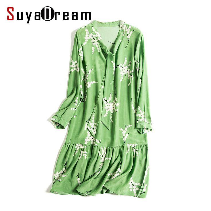 Женские платье 100% натуральный шелк с цветочным принтом Шелковый шифоновое платье оборками подол 2017 Весна Зеленый купить в магазине Suya Dream(SD) на AliExpress