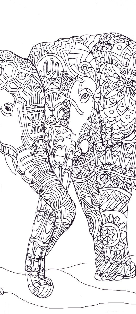 Elephant Clip Art Coloring Pages Printable Adult Book Hand Drawn Original Zentangle Digital Stamp For Download Doodle Picture
