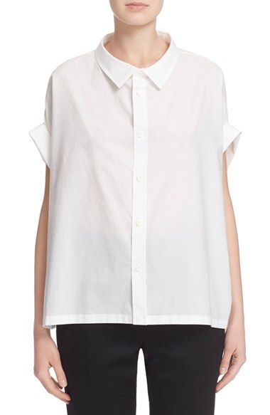 Y's by Yohji Yamamoto Short Sleeve Cotton Blouse available at #Nordstrom