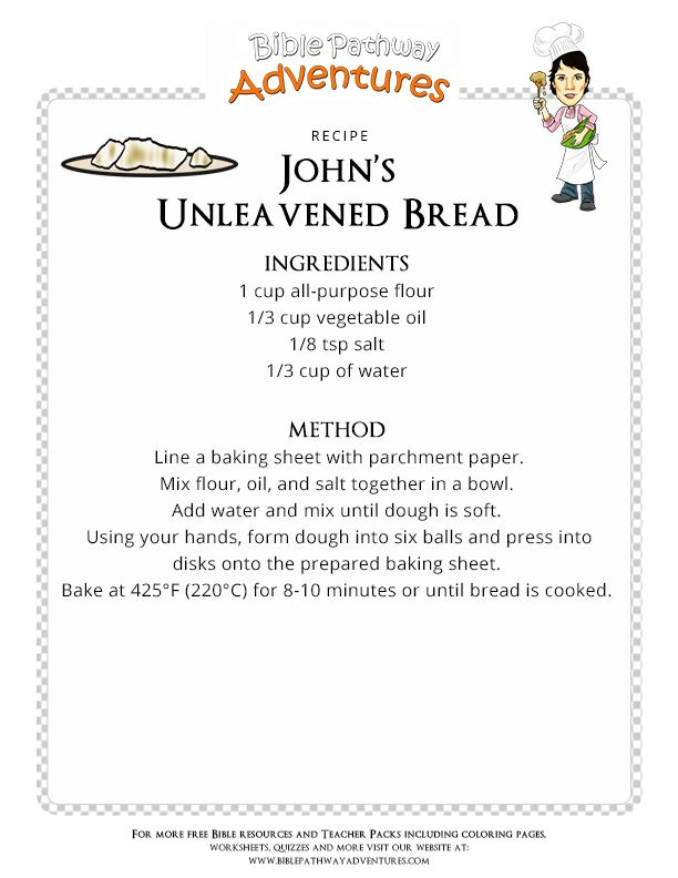 Bible Recipe for Kids: Unleavened Bread