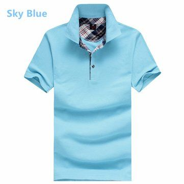 Men\'s Spring Summer Multicolor Turn-down Collar Solid Color Cotton Polo Shirts