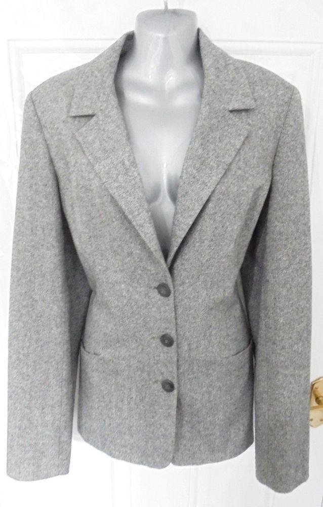 874df65f61853 LONG TALL SALLY Size 16 Black Grey Smart Jacket Blazer Wool Blend Tweed  Style
