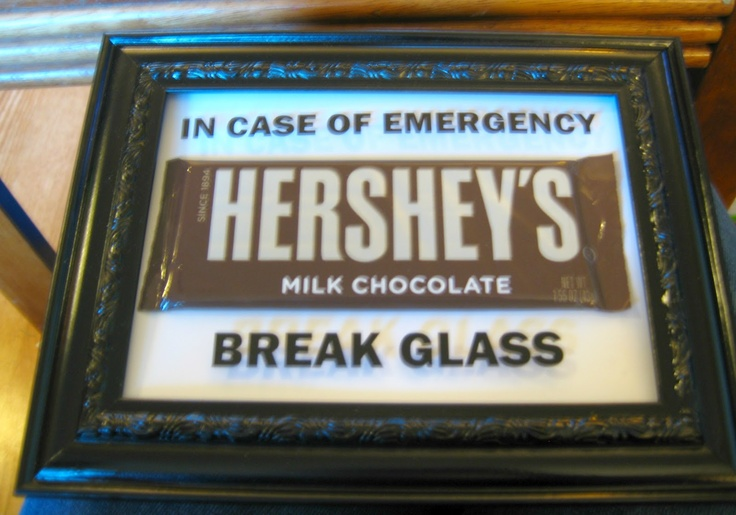 Chocolate: In Case Of Emergency Break Glass    I made one like this to give to a friend who is opening a new restaurant. (o:
