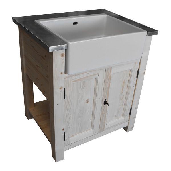 Quoi de plus élégant dans une cuisine qu'un meuble de cuisine équipé d'un évier type timbre d'office en porcelaine ? En plus, chez nous, il est inclus et un kit d'évacuation complet est offert.