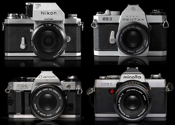 Logos de marcas famosas al estilo grabado de cámaras antiguas