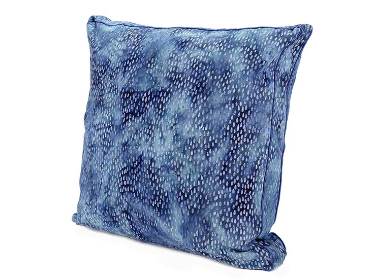Cornflower Blue Rain from www.designarthouse.com.au.  The rain batik is processed by hand on soft brushed canvas with layers of natural indigo and twinkling cornflower blue. This cushion is a gusseted style with a blue satin piping and works back with royal blue styles or as stand alone. Made from 100% cotton brushed canvas.   Dimensions: 50cm x 50cm gusseted   Includes cushion insert