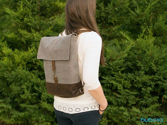 Grey-Brown Backpack Shoulder Bag Diaper Handbag Leather