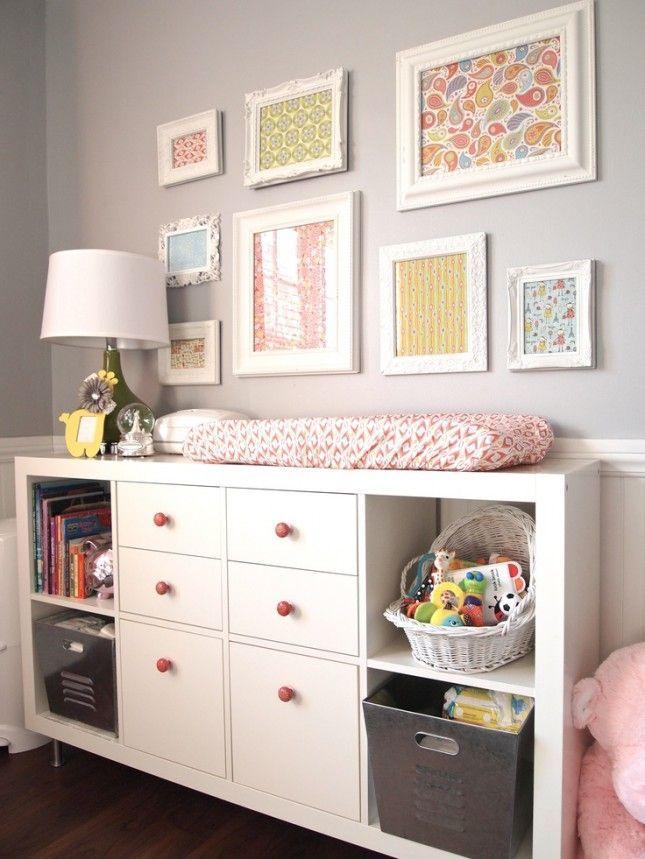 Love the frames.  19 IKEA Hacks for the Nursery via Brit + Co. - #decoracion #homedecor #muebles