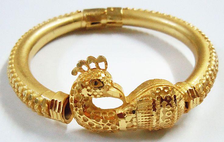 Peacock Design Gold Plated Hinged Bracelet (Metal)