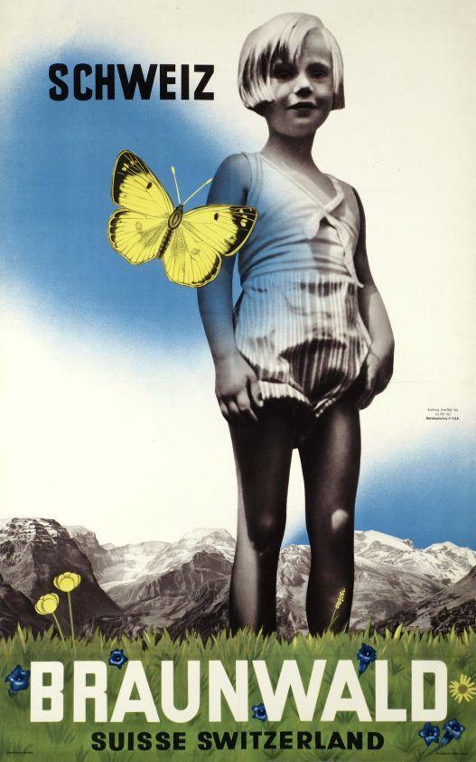 Braunwald, Schweiz Suisse Switzerland (Artist unknown / 1937) Photo-montage poster for Braunwald in Switzerland