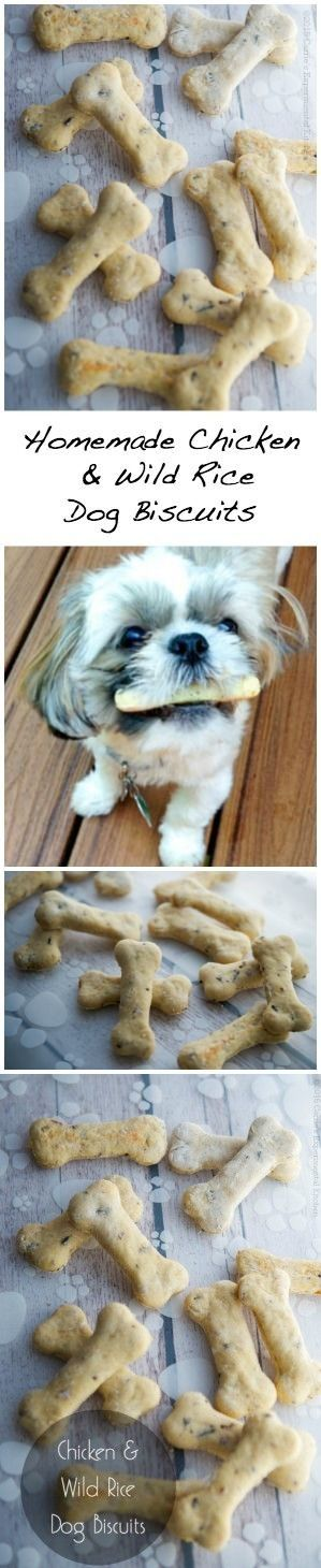 Your four-legged friend is sure to love these Chicken & Wild Rice Dog Biscuits!