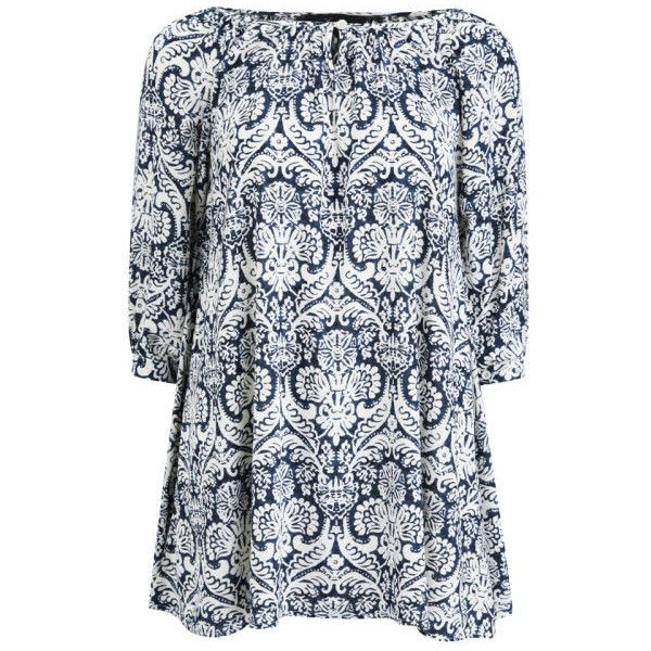 AX Paris Women's Paisley Smock Dress (£13) found on Polyvore featuring women's fashion, dresses, tops, vestidos, robes, blue, paisley dresses, blue smock dress, cotton dress and blue pattern dress