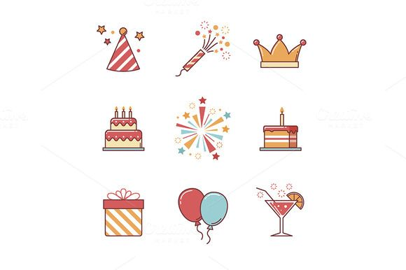 Birthday icons by Iconicbestiary on @creativemarket