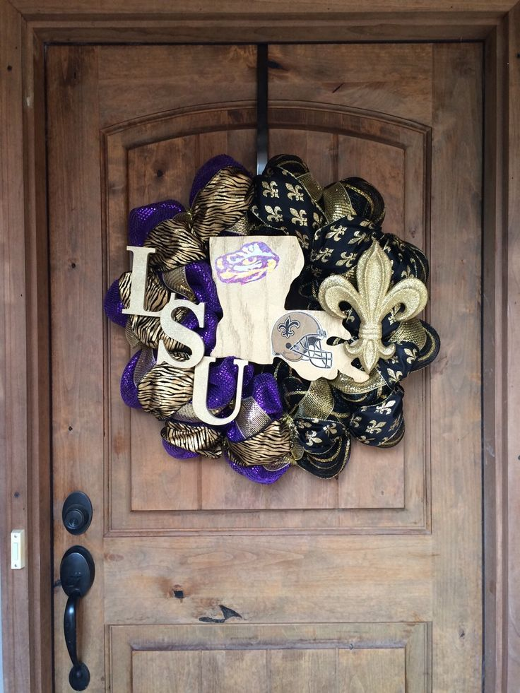 Half LSU Half Saints Deco Mesh Wreath Tigers Black Gold Purple Louisiana State Fleur De Lis #BayouBurlapandBling