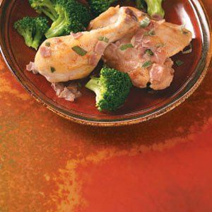 """Prosciutto Chicken in Wine Sauce Recipe -""""Last year, I decided to grow basil, sage and thyme. The scent of sage is very enticing to me, so I included it in this recipe. The rest just happened."""" - Lorraine Caland — Thunder Bay, Ontario"""