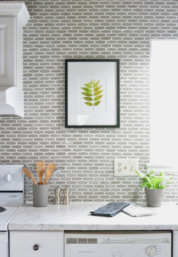 Budget Kitchen Makeover - villa elongated hexagon tile in ...