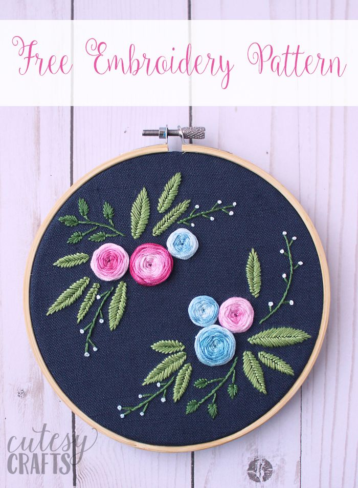 Blue Floral Embroidery Pattern Floral Embroidery Patterns