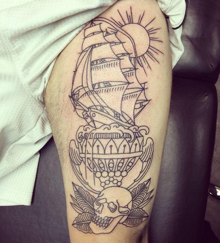 Start of my new leg piece by Daniel Gerbis Suffer City Tattoos in Garland TX
