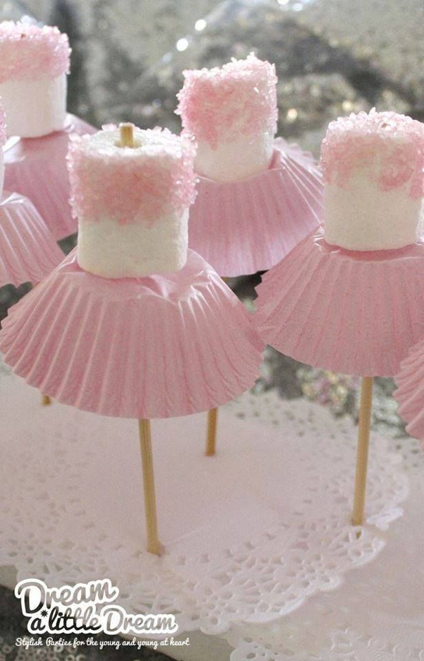 Marshmallow ballerinas---Love this idea in BLUE for Frozen Party too! New Frostine Tutu Party Coming Soon to My Princess Party to Go.  http://www.myprincesspartytogo.com