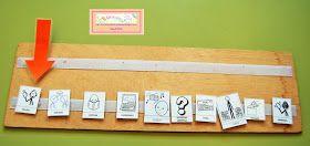En la sesión de apoyo se utiliza este panel para anticipar lo que hará en cada momento que el niño va marcando desplazando la flecha, así...
