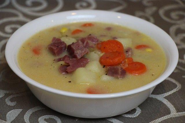 Homemade tasty, creamy ham & potato soup from stock, recipe