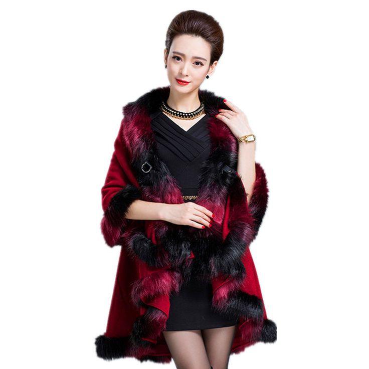 Купить товар2015 меховой воротник зимняя куртка манто роковой женщины шерсть и смеси теплое широкий шинель мыс тренч пончо плащ верхняя одежда пальто в категории Шерсть и сочетанияна AliExpress.  .                      О Размер                                      Длина: 100 см                     Размер бесплатно