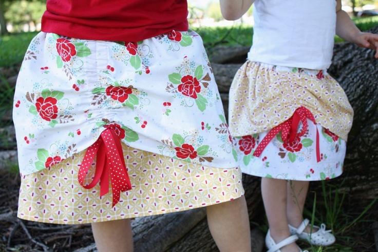 Cinch bustled skirt for kids.