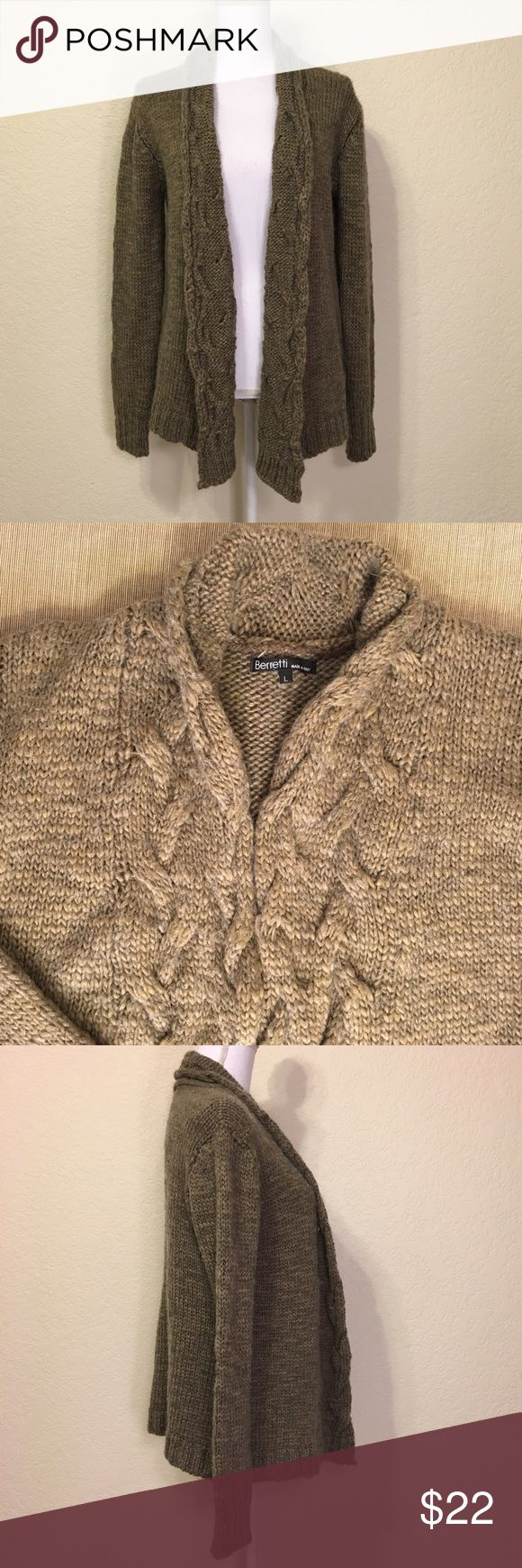 """Berretti Brown Open Cardigan Berretti Brown Open Cardigan.  Size L.  Excellent condition – no pulls or defects.  Length shoulder to hem: 25"""".  Measurements laid- flat – bust: 44"""", waist: 40"""", bottom of cardigan: 52"""".  Sleeve length: 25.5"""".  Cuff width: 4"""".  77% acrylic, 23% wool.  Hand wash or dry clean.  Made in Italy.  Love it but not the price - I'm open to (reasonable) offers or consider bundling 2 or more items for an additional 15% off and combined shipping!     Check out my reviews…"""