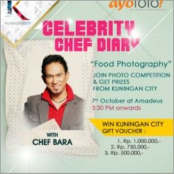Sephfriene Pingkan Tangkilisan: (7 October 2012 15:30-18:00)   BATAS AKHIR PENDAFTARAN :  HARI KAMIS TGL 4 OKT , JAM 17.00 WIB SORE  Bincang dan Lomba Food Photography with Chef Bara