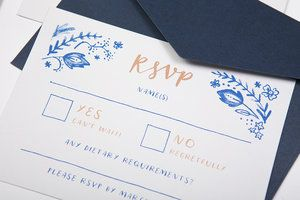 blue and white wedding stationery