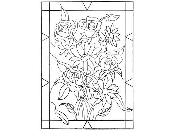 Large Stained Glass Coloring Pages Glass Crafts