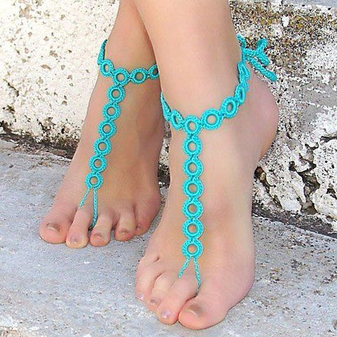 Pair of Sweet Openwork Circle Weaved Barefoot Sandals For Women