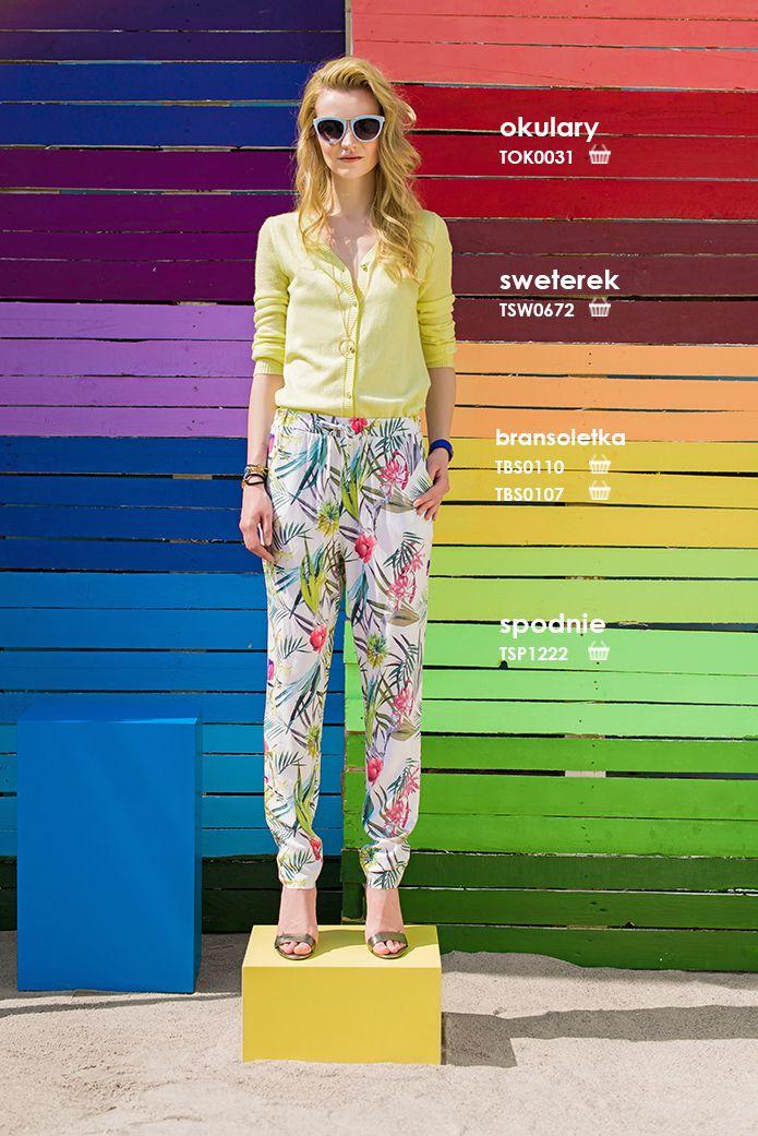 Kolorowe #spodnie w kwiaty #troll i kanarkowy #kardigan