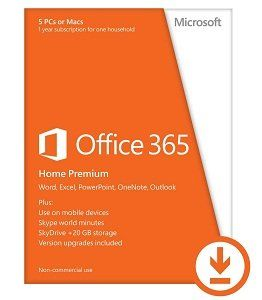 Office on up to 5 PCs and Windows 8 tablets, Macs Word, Excel, PowerPoint, Outlook, OneNote, Publisher, and Access An extra 20 GB of online storage in SkyDrive (27 GB total).   Price: $99.99