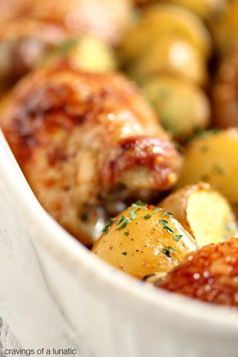 Honey Baked Chicken and Potatoes | cravingsofalunatic.com | Easy to make, this Baked Chicken is glazed with honey, and baked with baby potatoes. Perfect one pan meal for the whole family!