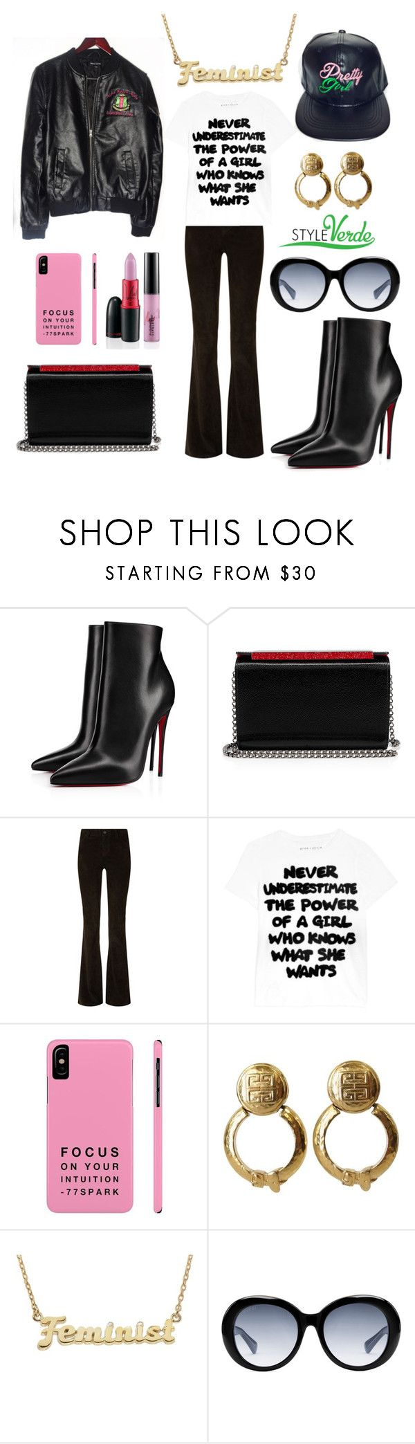 """FEMINIST..."" by cagreinvented on Polyvore featuring Christian Louboutin, Alice + Olivia, Nicki Minaj, Givenchy, me you and Gucci"