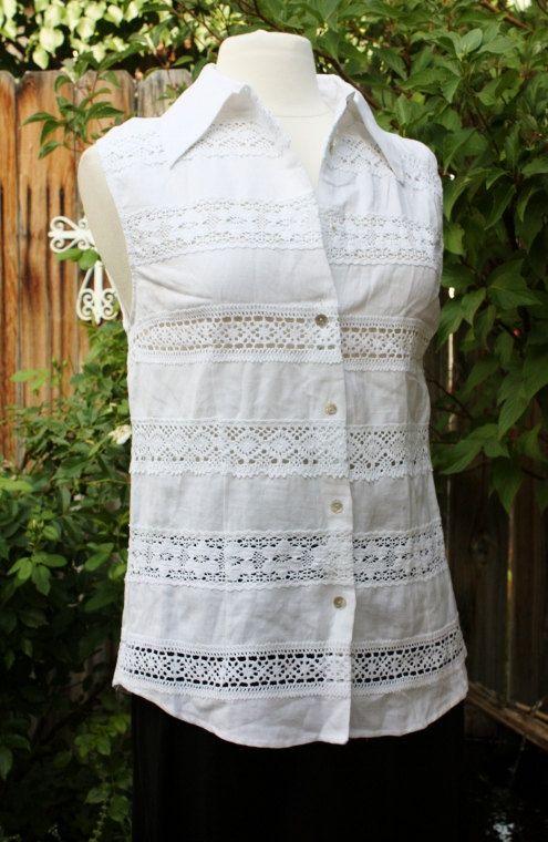 1990s White Blouse Top Linen Rayon Sleeveless Lace by Retromomo, $29.00