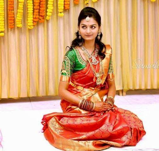 78da2514080dcc Bride in Green Muggulu Work Blouse | South Indian weddings.. | Bridal silk  saree, Saree wedding, Indian wedding hairstyles
