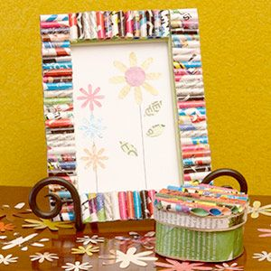 """Picture frame decorated with recycled magazine page """"beads"""" - was thinking of these for the necklace station, but maybe a frame or two on display to demonstrate what kids can do at home?"""