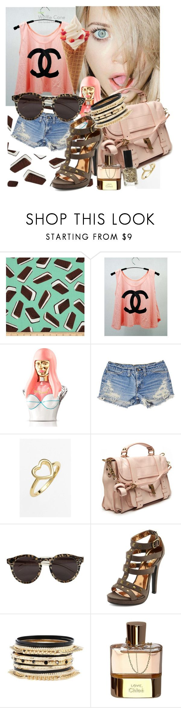 """""""ice cream dates"""" by mashaneva ❤ liked on Polyvore featuring Chanel, Nicki Minaj, Ariella Collection, Proenza Schouler, Illesteva, Charlotte Russe and Chloé"""