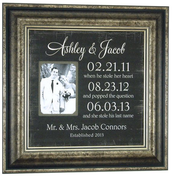 Important Dates Mr Mrs Bride Groom Custom Wedding sign, Personalized Picture frame with Special Dates Wedding Gift for Parents, 16 X 16 on Etsy, $89.00