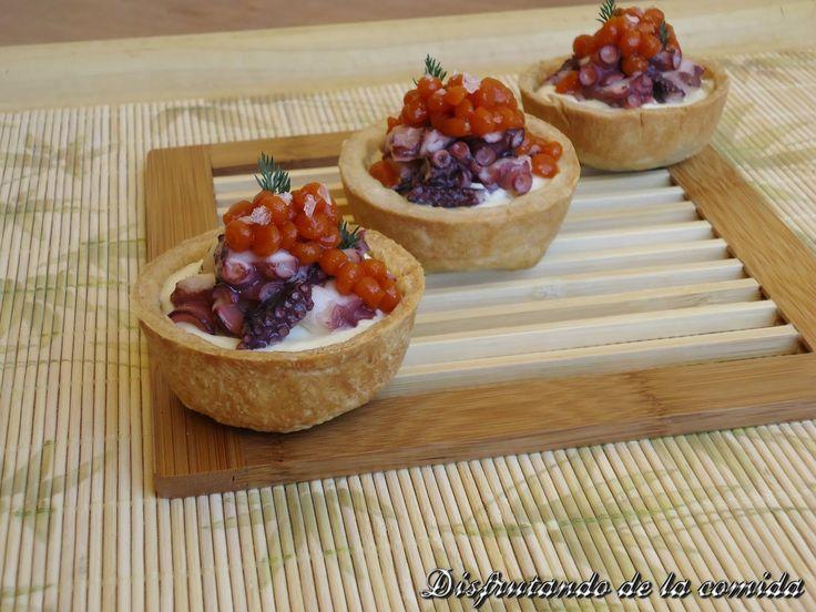 Tartaletas de Pulpo y Caviar de Tomate Asado | Postres con estilo