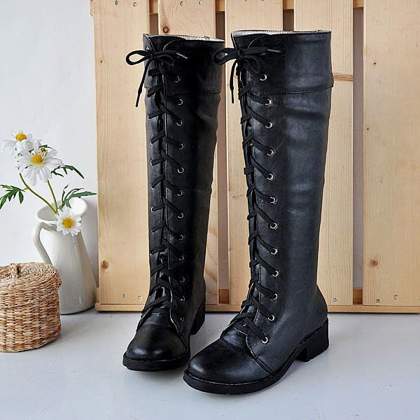 2012 Hot Sale,Janpan Cosplay Retro White and black Rider boots,Women's  Lace- · Mid Calf ...